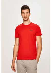EA7 Emporio Armani - T-shirt. Okazja: na co dzień. Kolor: czerwony. Materiał: dzianina, materiał. Wzór: gładki. Styl: casual