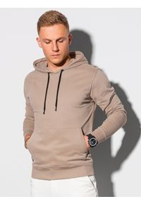 Ombre Clothing - Bluza męska z kapturem B1147 - beżowa - XXL. Typ kołnierza: kaptur. Kolor: beżowy. Materiał: bawełna