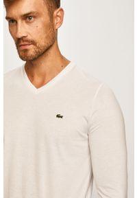 Biała koszulka z długim rękawem Lacoste casualowa, na co dzień