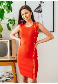 Czerwona sukienka Fanaberia.com klasyczna, z klasycznym kołnierzykiem