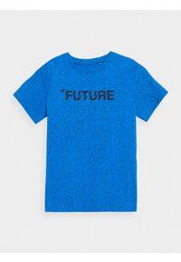 4f - T-shirt chłopięcy (122-164). Kolor: niebieski. Materiał: bawełna. Wzór: nadruk