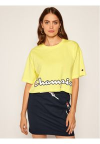 Champion T-Shirt Cropped Script Logo Print Boxy 112655 Żółty Oversize. Kolor: żółty. Wzór: nadruk