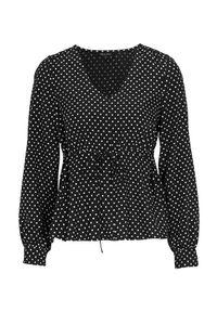 Czarna bluzka Happy Holly w kropki, z dekoltem w serek