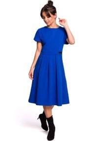 MOE - Chabrowa Rozkloszowana Sukienka Dzianinowa. Kolor: niebieski. Materiał: dzianina