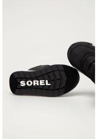Czarne buty zimowe sorel z cholewką, na zimę, z okrągłym noskiem