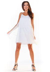 Awama - Biała Tiulowa Sukienka w Groszki na Ramiączkach. Kolor: biały. Materiał: tiul. Długość rękawa: na ramiączkach. Wzór: grochy