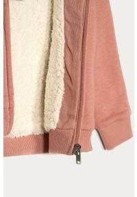 Różowa bluza rozpinana Roxy casualowa, z nadrukiem, na co dzień, z kapturem