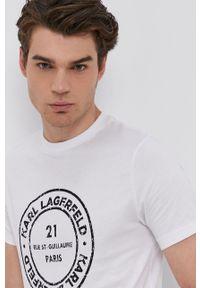 Karl Lagerfeld - T-shirt bawełniany. Okazja: na co dzień. Kolor: biały. Materiał: bawełna. Wzór: nadruk. Styl: casual
