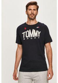 Niebieski t-shirt Tommy Sport na co dzień, z nadrukiem