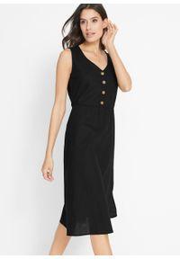 Sukienka lniana midi z plisą guzikową bonprix czarny. Kolor: czarny. Materiał: len. Długość: midi