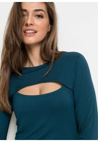Shirt z wycięciem i długim rękawem bonprix niebieskozielony morski. Kolor: niebieski. Długość rękawa: długi rękaw. Długość: długie