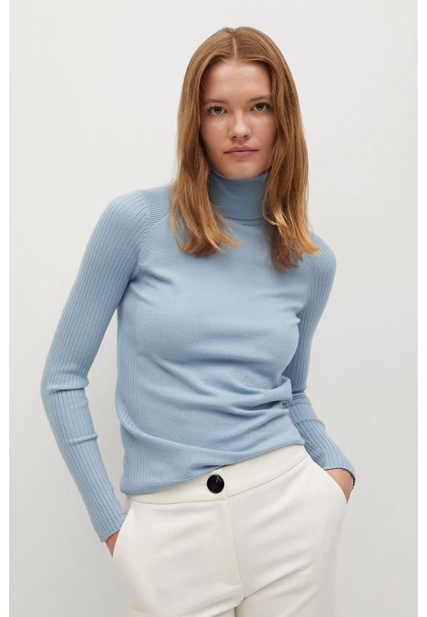 Niebieski sweter mango z golfem, długi