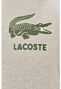 Szara bluza nierozpinana Lacoste na co dzień, z nadrukiem, z kapturem, casualowa