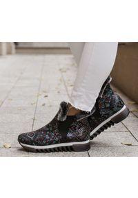 Botki Zapato z nadrukiem, na zimę, casualowe, z cholewką