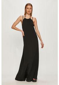 Czarna sukienka Trussardi Jeans na ramiączkach, gładkie, na co dzień, casualowa