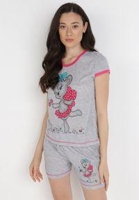 Born2be - Szaro-Różowy 2-Częściowy Komplet Piżamowy Wanyi. Kolor: szary