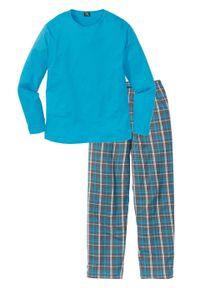 Piżama bonprix turkusowy w kratę. Kolor: szary. Długość: długie #1