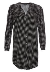 Czarna bluzka bonprix długa, w kropki, z długim rękawem