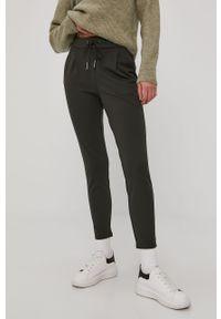 Oliwkowe spodnie materiałowe Vero Moda na co dzień, gładkie