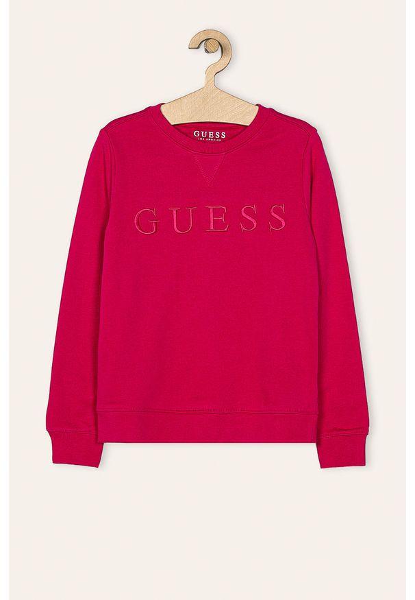 Różowa bluza Guess Jeans na co dzień, casualowa, z aplikacjami, z okrągłym kołnierzem