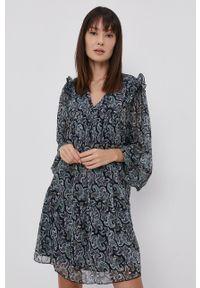 only - Only - Sukienka. Kolor: niebieski. Materiał: tkanina. Typ sukienki: rozkloszowane