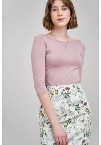 Marie Zélie - Spódnica Leto Ficiforma kremowa. Kolor: kremowy. Materiał: bawełna, skóra, materiał, elastan
