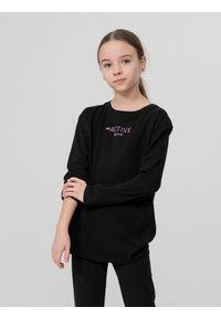 4f - Longsleeve dziewczęcy (122-164). Kolor: czarny. Materiał: bawełna, dzianina. Długość rękawa: długi rękaw. Wzór: nadruk