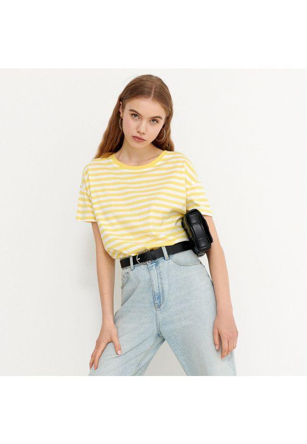 House - T-shirt w paski basic - Żółty. Kolor: żółty. Wzór: paski