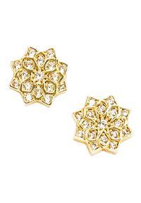 Braccatta - ULA Kolczyki złote kwiaty z cyrkoniami. Materiał: złote. Kolor: złoty. Wzór: kwiaty. Kamień szlachetny: cyrkonia