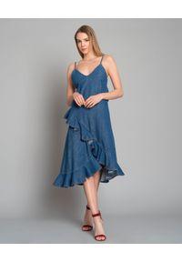 Niebieska sukienka Kenzo na ramiączkach, asymetryczna