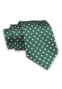 Alties - Zielony Elegancki, Męski Krawat -ALTIES- 7cm, Klasyczny, w Biało-Granatowe Kwiatki. Kolor: niebieski. Materiał: tkanina. Wzór: kwiaty. Styl: klasyczny, elegancki
