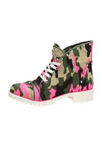 vices - Różowe trapery, buty damskie VICES 1171-23. Kolor: różowy. Materiał: tkanina. Obcas: na obcasie. Wysokość obcasa: średni
