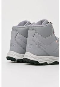 Szare buty zimowe New Balance na zimę, na sznurówki, z okrągłym noskiem, z cholewką