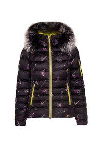 Czarna kurtka narciarska Sportalm z nadrukiem