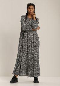 Renee - Czarna Sukienka Elinnore. Kolor: czarny. Materiał: tkanina, wiskoza. Długość rękawa: krótki rękaw. Wzór: kwiaty, nadruk. Długość: maxi