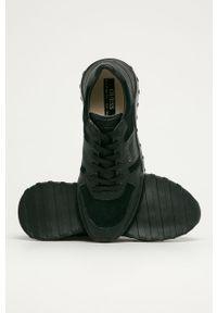 Czarne sneakersy Guess Jeans z cholewką, na sznurówki, z okrągłym noskiem