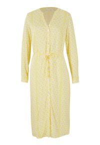 Sukienka szmizjerka z przyjaznej dla środowiska wiskozy bonprix żółty ananasowy - biały. Kolor: żółty. Materiał: wiskoza. Wzór: nadruk. Typ sukienki: szmizjerki