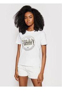 Tommy Jeans T-Shirt Floral Print DW0DW10198 Biały Slim Fit. Kolor: biały. Wzór: nadruk