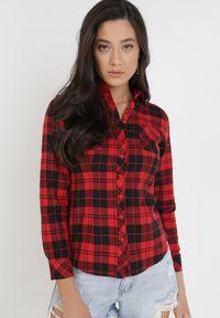 Born2be - Czarno-Czerwona Koszula Saliaphe. Okazja: na co dzień. Kolor: czarny. Materiał: bawełna, tkanina. Długość: długie. Styl: sportowy, klasyczny, casual