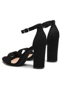 Czarne sandały DeeZee na co dzień, na średnim obcasie