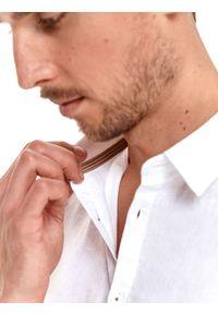 TOP SECRET - Koszula długi rękaw męska shaped fit. Kolor: biały. Materiał: len, materiał. Długość rękawa: długi rękaw. Długość: długie. Styl: elegancki