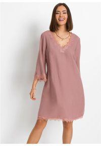 Sukienka lniana TENCEL™ Lyocell bonprix różowobrązowy. Kolor: różowy. Materiał: len, lyocell. Wzór: koronka