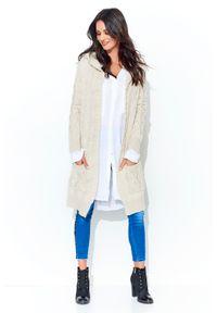 Beżowy sweter oversize Makadamia długi, z kapturem