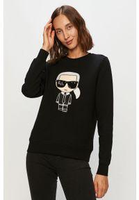 Czarna bluza Karl Lagerfeld z okrągłym kołnierzem, na co dzień