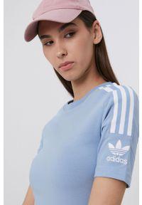 adidas Originals - T-shirt. Okazja: na co dzień. Kolor: niebieski. Materiał: bawełna. Wzór: nadruk. Styl: casual