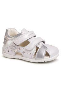 Białe sandały Geox z aplikacjami