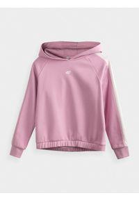 Różowa bluza 4f na co dzień, z kapturem, raglanowy rękaw, casualowa