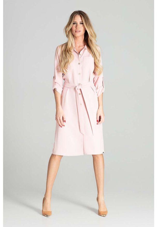 Różowa sukienka Figl koszulowa