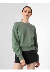 4f - Bluza oversize nierozpinana bez kaptura damska. Okazja: na co dzień. Typ kołnierza: bez kaptura. Kolor: zielony. Materiał: dzianina, materiał. Długość: krótkie. Styl: casual