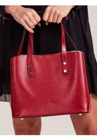 ROVICKY - Włoska skórzana torebka shopper bag czerwona Rovicky TWR-61. Kolor: czerwony. Materiał: skórzane